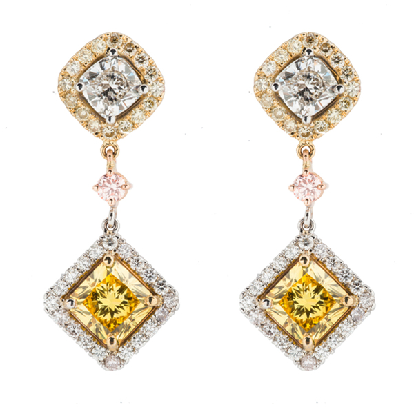 TRICOLOR DIAMOND DANGLING EARRINGS